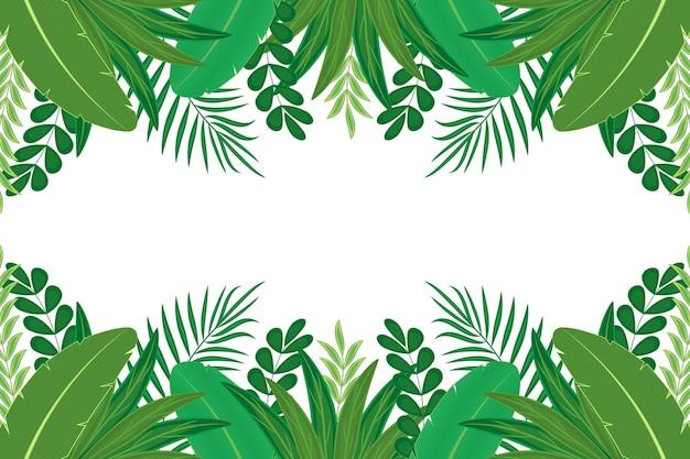 Design plano de folhas verdes exóticas