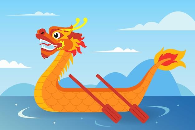 Design plano de fundo de barco dragão