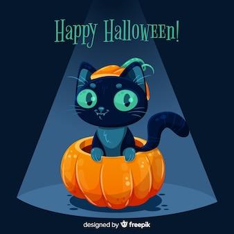 Design plano de gato preto bonito de halloween