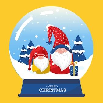 Design plano de globo de bola de neve de natal