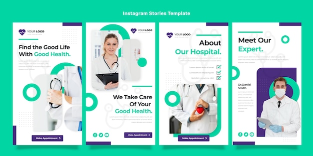 Design plano de histórias médicas do instagram