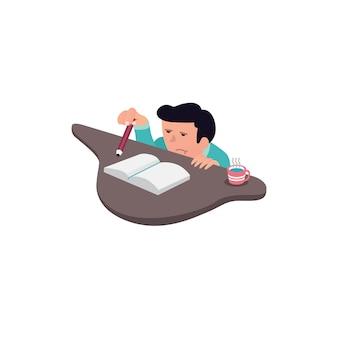 Design plano de homem com desenhos animados com expressão entediada