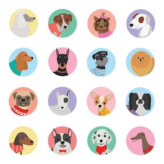 Design plano de ícone de cães