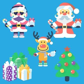 Design plano de ícone de vetor com árvore de natal de papai noel e renas de papai noel e presentes