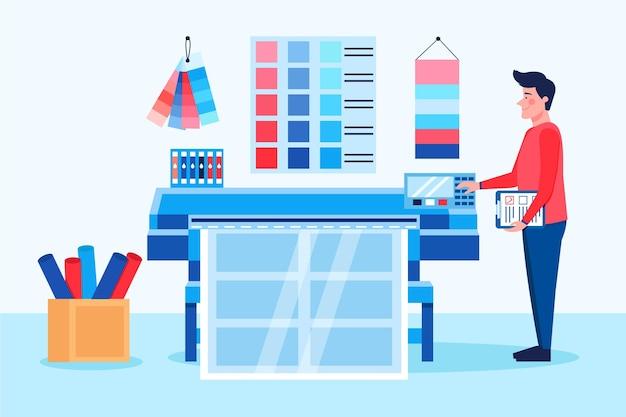 Design plano de ilustração da indústria de impressão