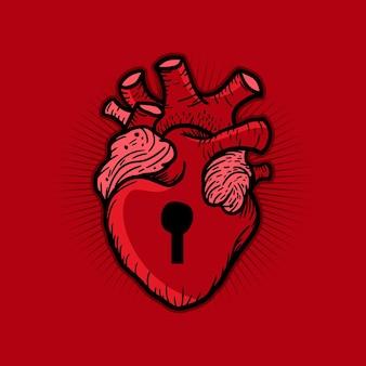 Design plano de ilustração de desenho animado com coração travado