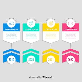 Design plano de infográfico cronograma colorido