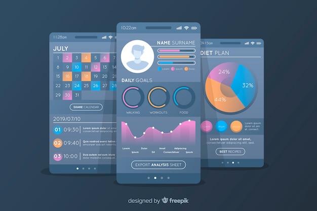 Design plano de infográfico de app móvel de aptidão