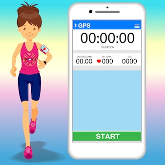 Design plano de jovem correndo com dispositivos de cardio