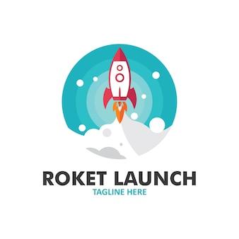 Design plano de lançamento de foguete de vetor
