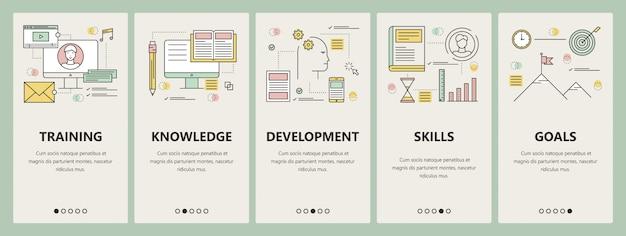 Design plano de linha fina, treinando o conceito banners verticais