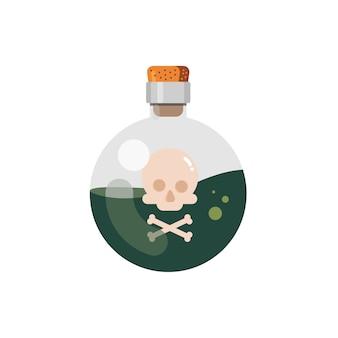 Design plano de líquido envenenado em garrafa