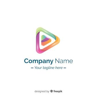 Design plano de logotipo abstrato gradiente