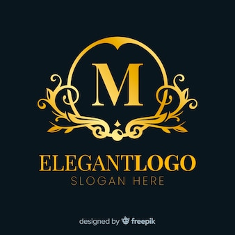 Design plano de logotipo dourado elegante