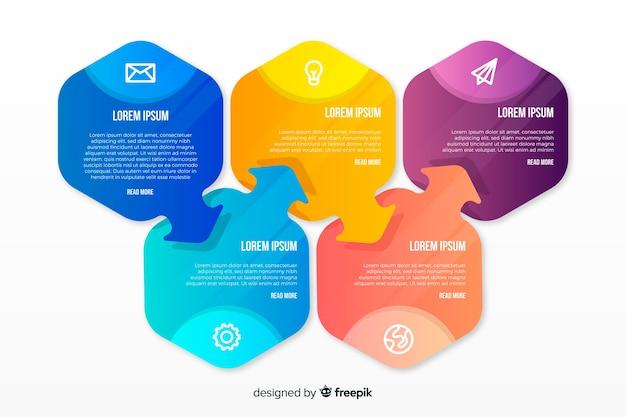 Design plano de modelo colorido infográfico