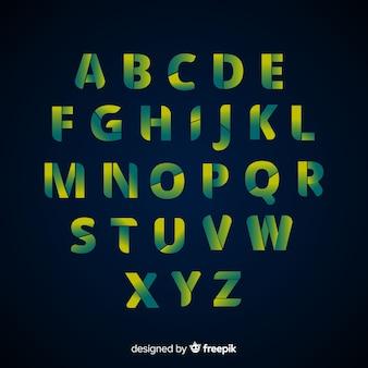 Design plano de modelo de alfabeto de gradiente
