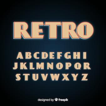 Design plano de modelo de alfabeto retrô