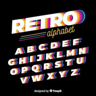 Design plano de modelo de alfabeto vintage