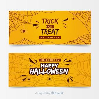 Design plano de modelo de banner de halloween