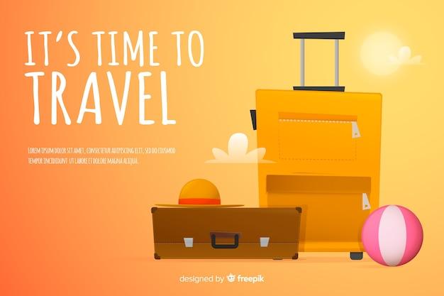 Design plano de modelo de banner de viagens