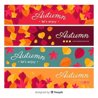 Design plano de modelo de banner outono