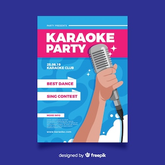 Design plano de modelo de cartaz de karaoke