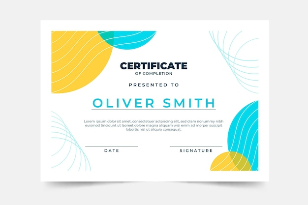 Design plano de modelo de certificado mínimo