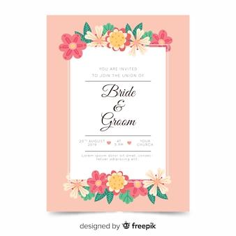Design plano de modelo de convite de casamento floral