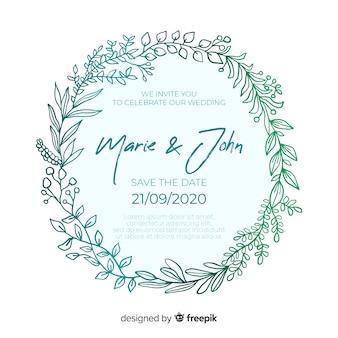 Design plano de modelo de convite de casamento