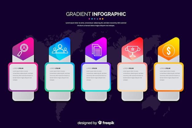 Design plano de modelo de gradiente infográfico
