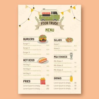 Design plano de modelo de menu colorido