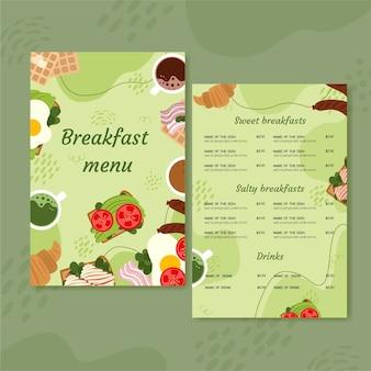 Design plano de modelo de menu de comida