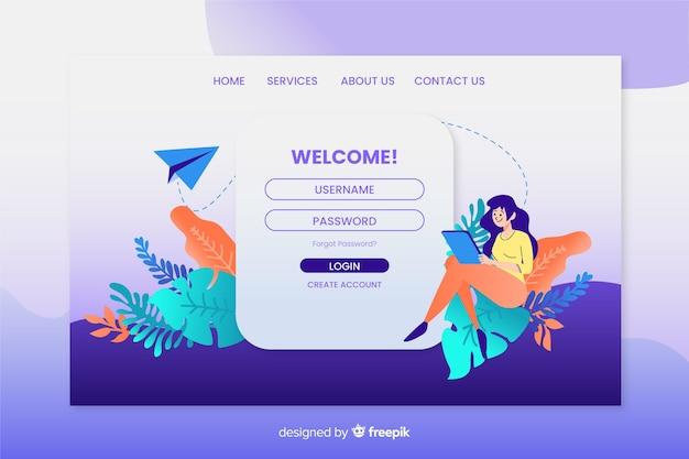 Design plano de modelo de página de aterrissagem de login