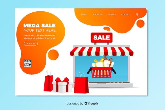 Design plano de modelo de página de destino de venda