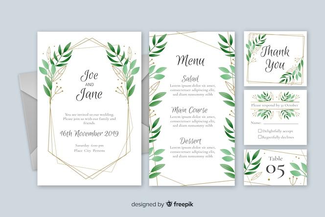 Design plano de modelo de papelaria de casamento