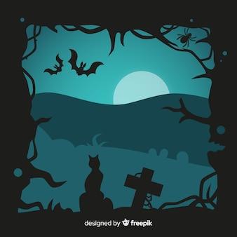Design plano de moldura de halloween
