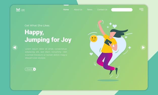 Design plano de mulher feliz e salta para o modelo de página de destino de alegria