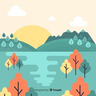 Design plano de natureza paisagem decorativa