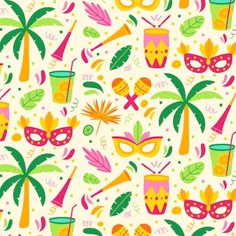 Design plano de padrão colorido carnaval brasileiro