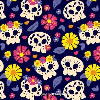 Design plano de padrão de dia de muertos