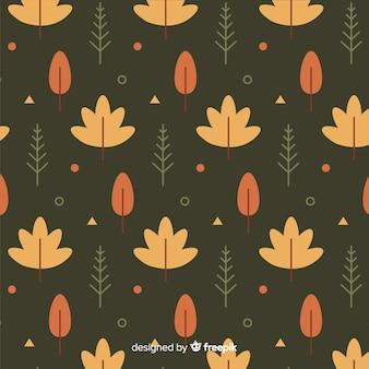 Design plano de padrão de folhas de outono