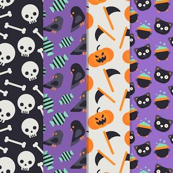 Design plano de padrões de halloween