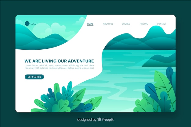 Design plano de página de aterrissagem de natureza