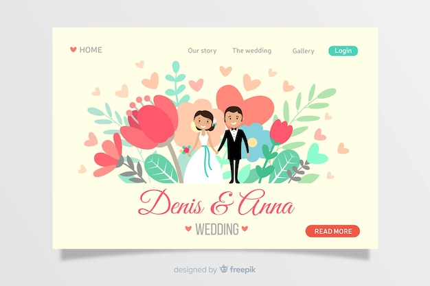 Design plano de página de destino de casamento
