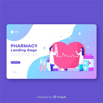 Design plano de página de destino de farmácia