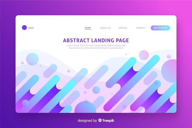 Design plano de página de destino de formas abstratas