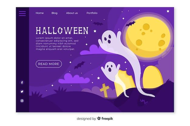Design plano de página de destino de halloween