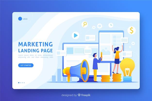 Design plano de página de destino de marketing