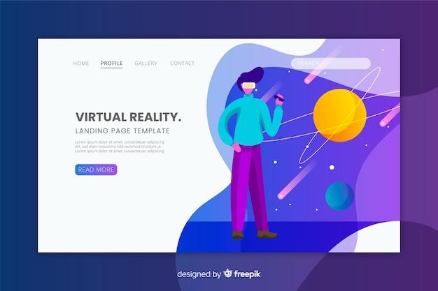 Design plano de página de destino de realidade virtual
