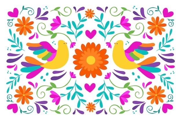 Design plano de papel de parede colorido mexicano